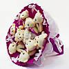 Букет из игрушек Мишки 9 фуксия