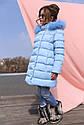 Пальто детское Деника с мехом песца от ТМ Nui Very - темно Голубой, фото 3