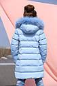 Пальто детское Деника с мехом песца от ТМ Nui Very - темно Голубой, фото 4