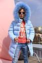Пальто детское Деника с мехом песца от ТМ Nui Very - темно Голубой, фото 5