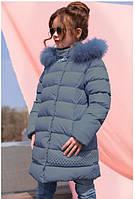 Пальто детское Деника с мехом песца от ТМ Nui Very - темно Голубой