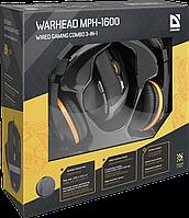 Игровой набор Defender Warhead MPH-1600 черный,мышь+гарнитура+ковер, фото 1