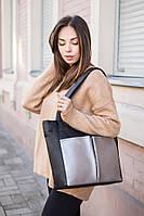 Тоут черный флай с серебристыми карманами, фото 1