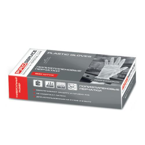 Перчатки одноразовые М,L 500шт РЕ PRO-17500200,-10 в картонном боксе