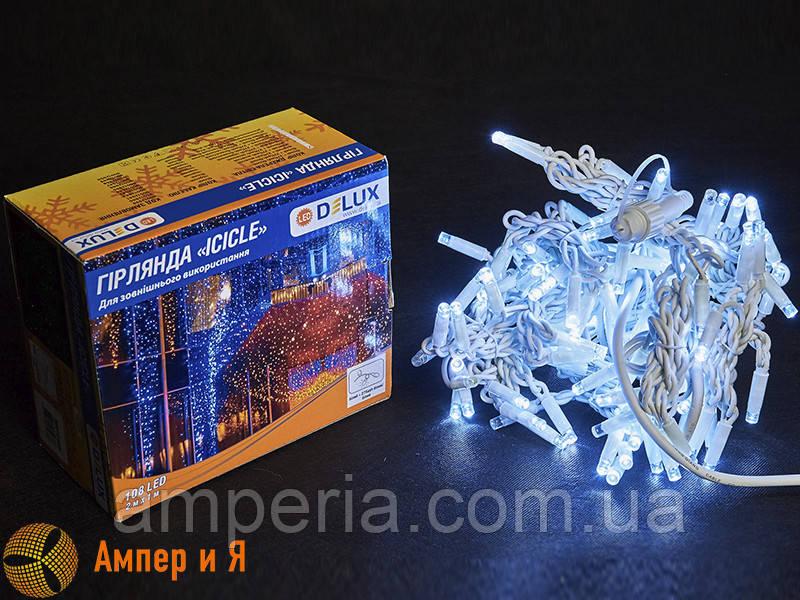 Гирлянда внешняя ICICLE 108 LED 2x1m 27 flash белый/белый IP44 EN DELUX