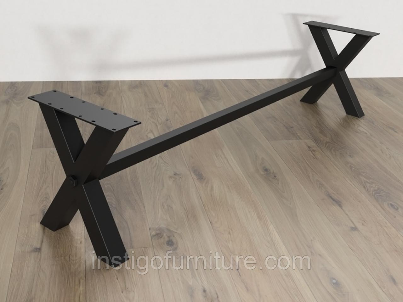 Комплект регулируемых опор с перемычкой для скамейки из металла