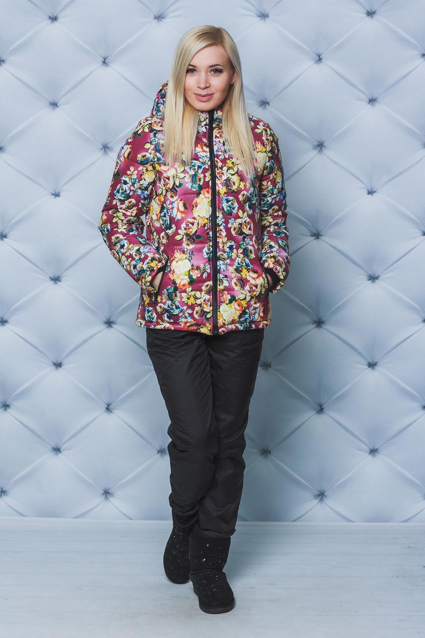 Костюм женский зимний куртка+штаны Цветы