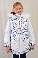 Детская теплая зимняя курточка на девочку в снежинки, р.122-140., фото 2