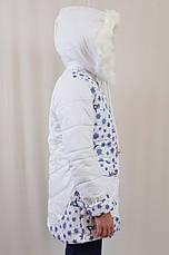 Детская теплая зимняя курточка на девочку в снежинки, р.122-140., фото 3