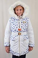 Детская теплая зимняя курточка на девочку в снежинки, р.122-140.