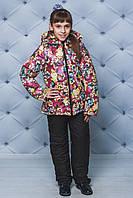 Костюм детский зимний куртка+штаны Цветы