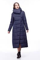 Пальто удлинённое стеганое КОМИЛЬФО темно-синий  новинка демисезонное больших размеров 42-54