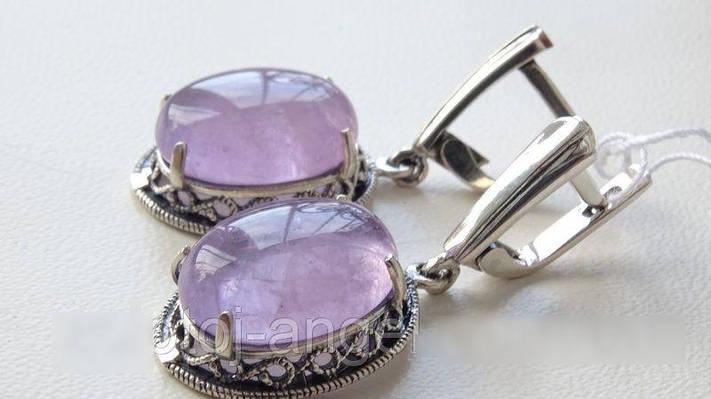 Серебряные серьги c фиолетовым АМЕТИСТОМ