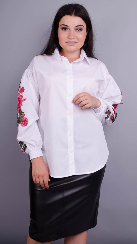 Новинка! необычная красивая блузка белого цвета большие размеры: 50-64
