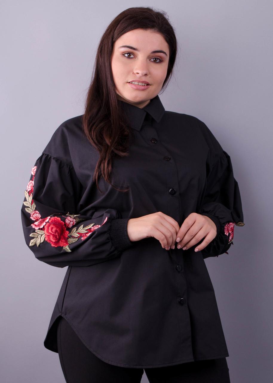 Новинка! необычная красивая блузка черного цвета большие размеры: 50-64