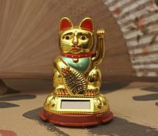 9320019 Счастливый кот на солнечной батарейке Золотой