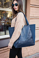 Сумка шоппер синий иск замш и синий макан, фото 1