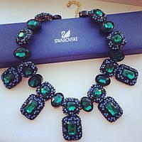 Колье Мистик Swarovski Elements зеленое , ожерелье женское
