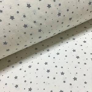 Фланелевая ткань звездопад серый на белом