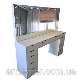 Большой гримерный стол на два рабочих места, стол для визажиста