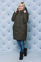 Пальто женское плащевое зимнее хаки