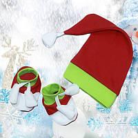 Комплект новогодний для новорожденного 0-3 месяца размер 62 шапочка+пинетки