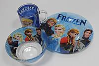 """Набор детской посуды (3 предмета) с любимыми героями мультфильмов """"Холодное сердце"""""""