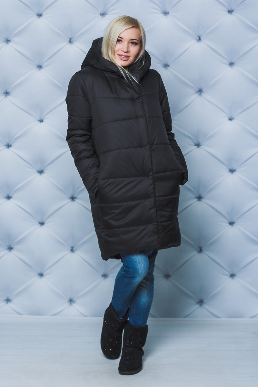 Пальто женское плащевое зимнее черное