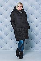 Пальто женское плащевое зимнее черное, фото 1