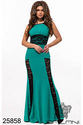 Вечернее мятное приталенное платье в пол с гипюром