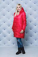 Пальто женское плащевое зимнее красное, фото 1