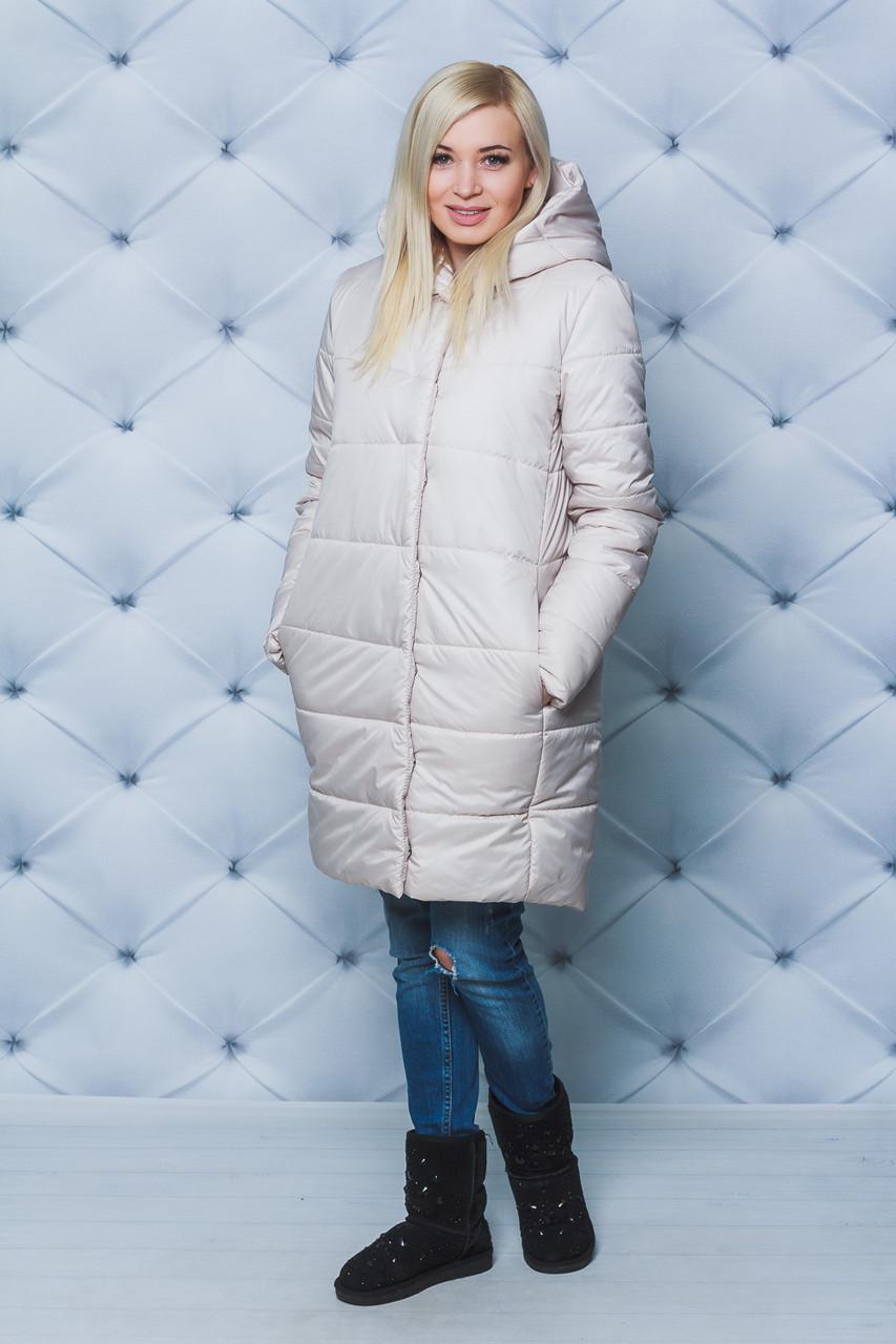 Пальто женское плащевое зимнее беж