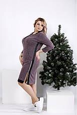 Женское теплое платье  бордового цвета на каждый день размеры:42-74, фото 3