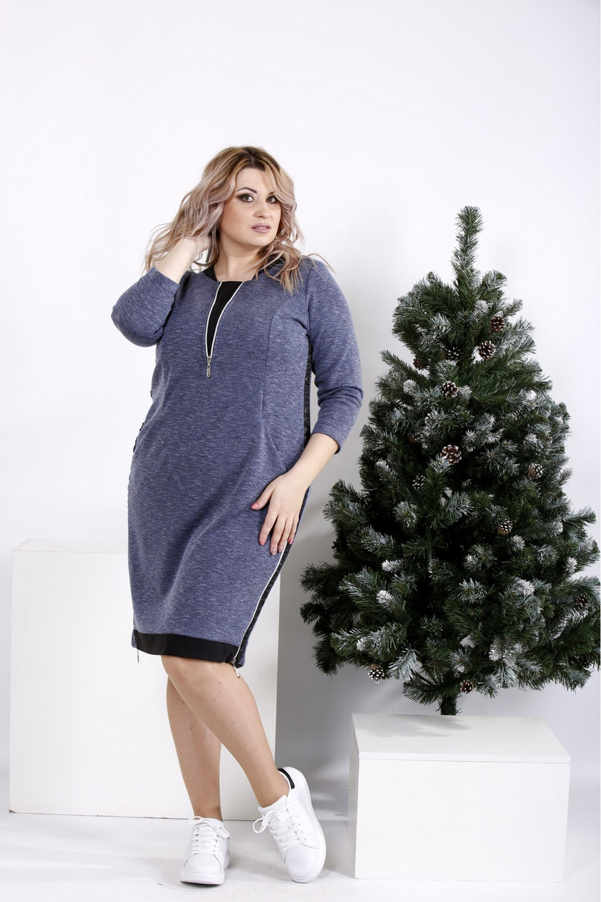 Женское теплое платье  синего цвета на каждый день размеры:42-74