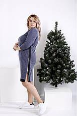 Женское теплое платье  синего цвета на каждый день размеры:42-74, фото 3