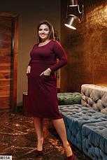 Плаття жіноче демісезонне тепле бордове розміри: 50-62, фото 2