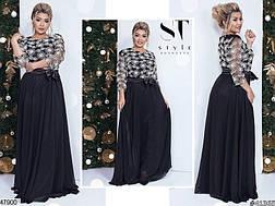 Шикарное вечернее нарядное женское платье черного цвета размеры: 48-50,50-52, фото 3