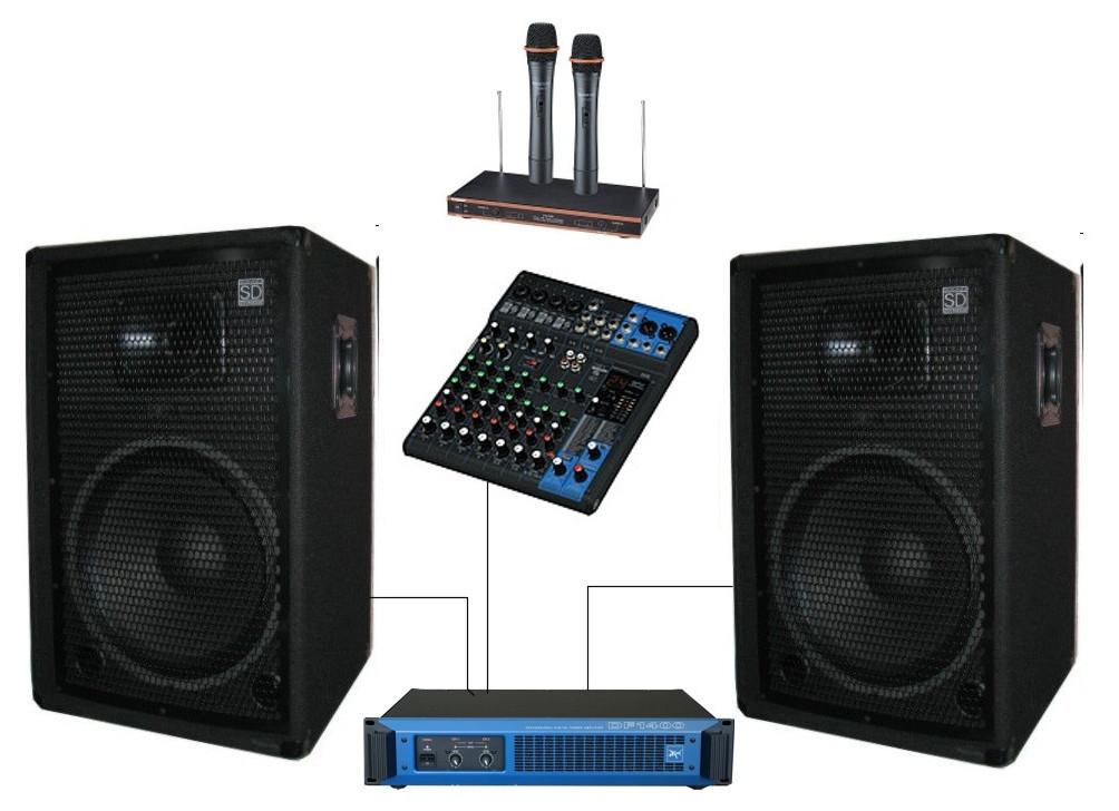 """Комплект звукового оборудования с радиомикрофонами Sound Division DJ15KAR3 700Вт 15"""""""