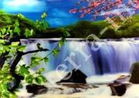 9040083 Постер голографический №13 Ветка сакуры на фоне водопада