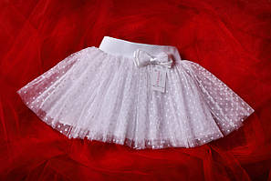 Праздничная белая юбка детская в мелкий горошек .