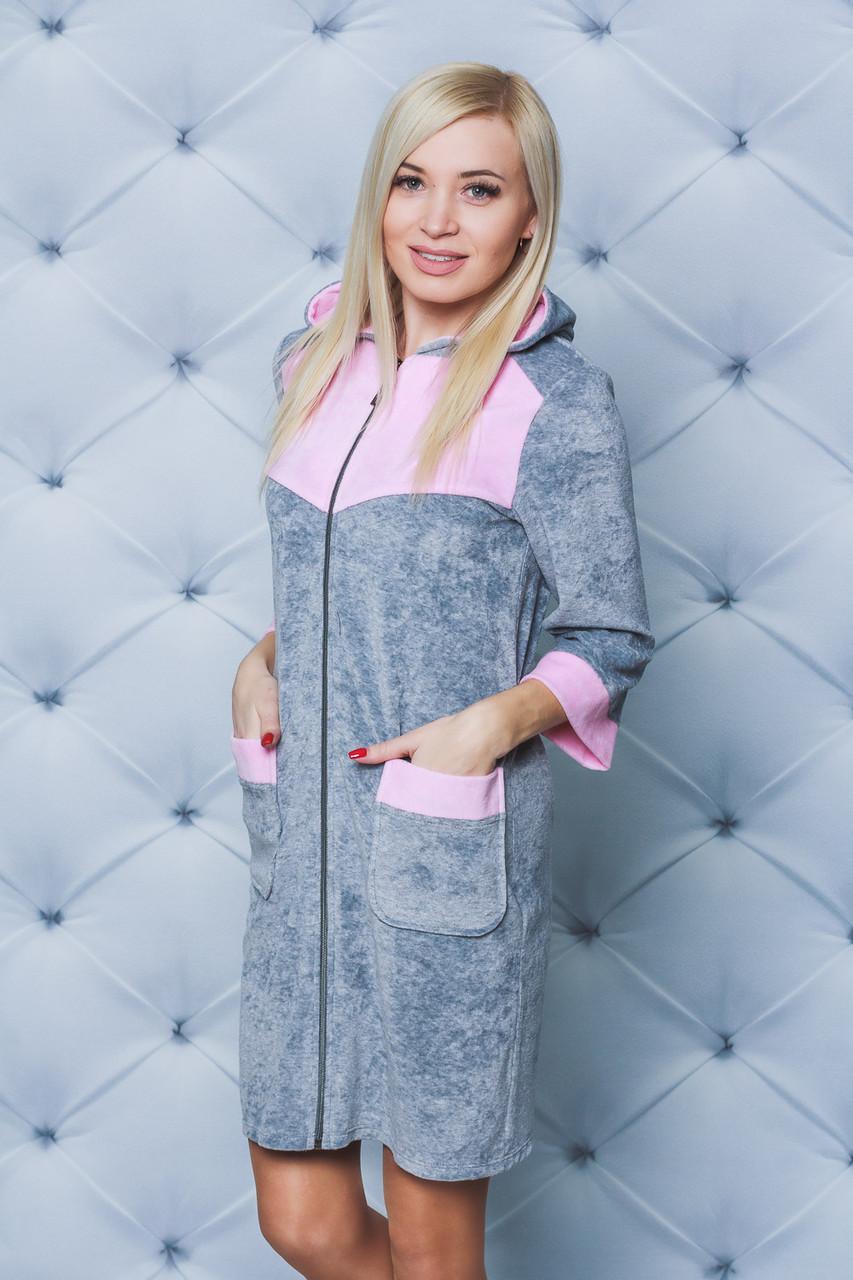Велюровый халат короткий серый