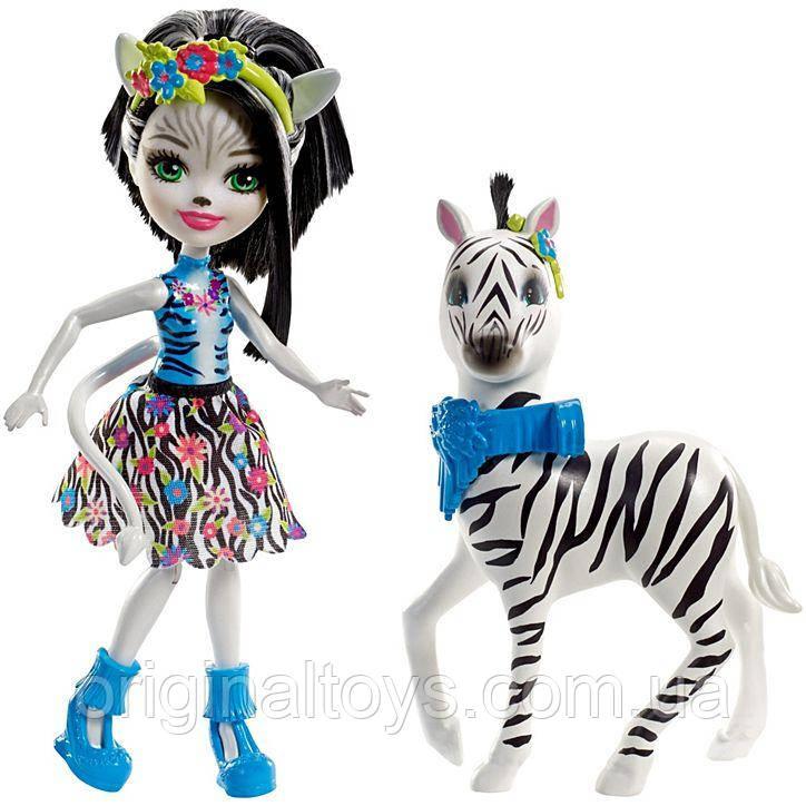 Набор Enchantimals кукла Зебра Елена и питомец Хафитте FKY75