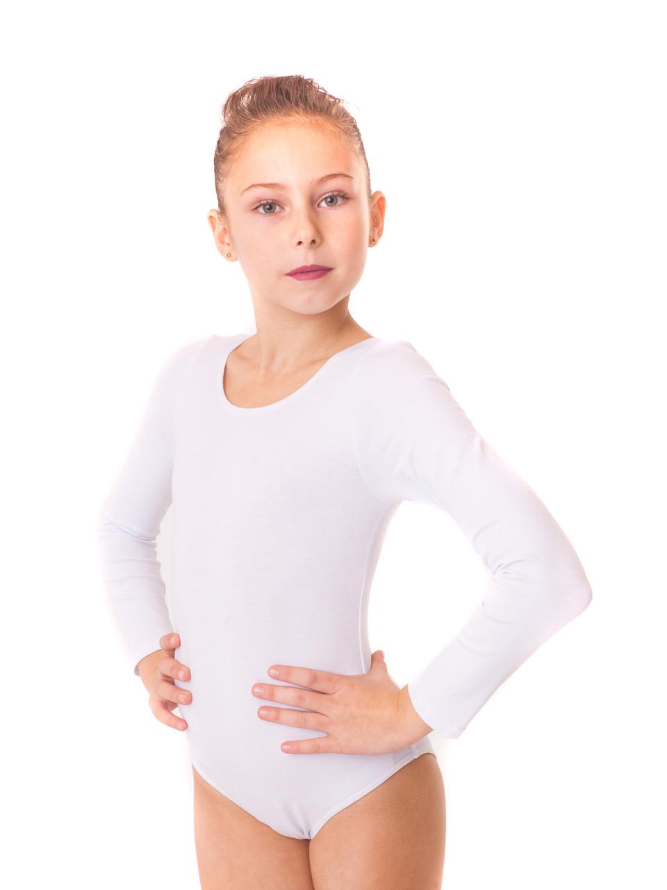 Купальник для танцев детский хлопок БЕЛЫЙ р-р L, XL