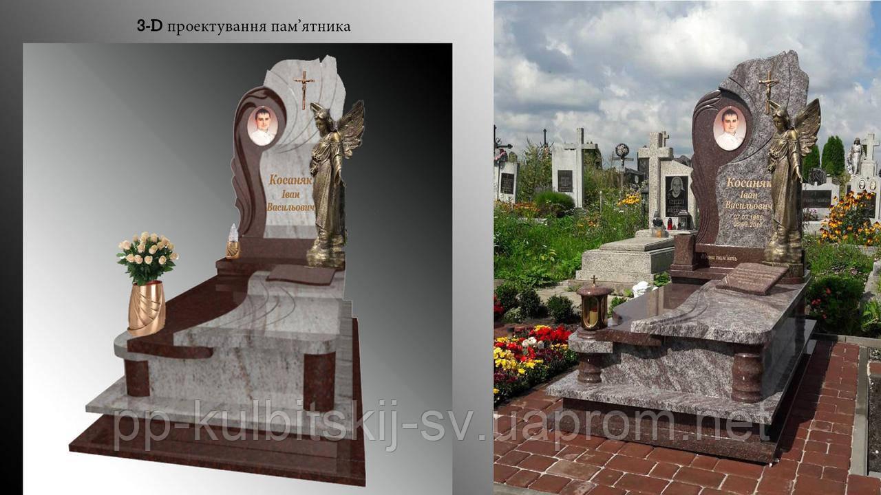 Одинарний пам'ятник елітний світлий граніт 062, фото 1