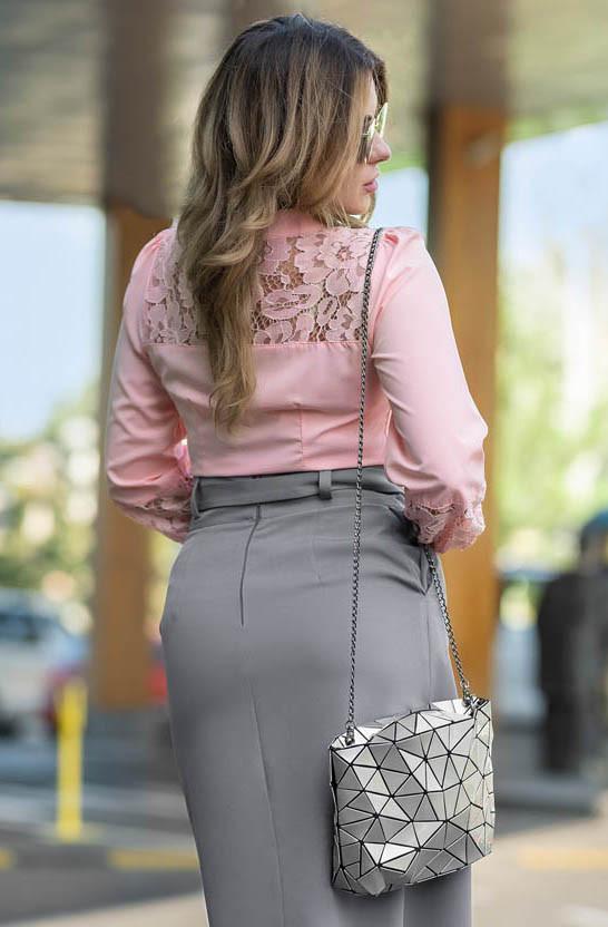 138cd65056e Женская рубашка с кружевом розового цвета. Модель 19043. Размеры 42-46 ...