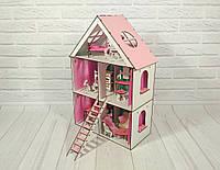 Кукольный Домик для Lol Little Fun maxi + обои + мебель + текстиль + шторы + лестница + двухъярусная кровать