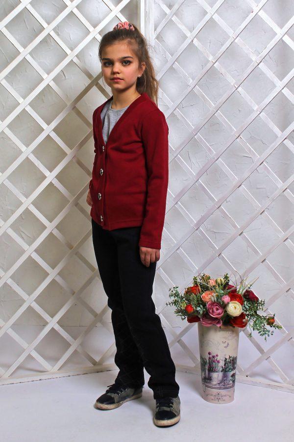 Кофточка (кардиган) детская на пуговицах бордо 4-9 лет