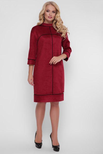 24067abfce7 Женское платье Мишель экозамша цвет бордо   размер 52-58   большие размеры  - ⭐