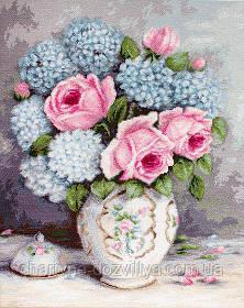 """Набор для вышивания крестиком (цветы) """"Розы и гортензии крестиком"""""""