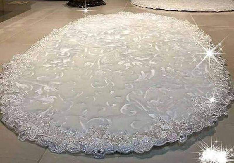 Estima Lux элитные коврики кремового цвета 2-шт с кружевами (универсальные)